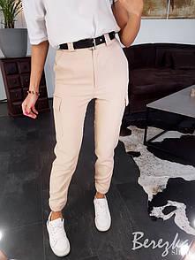 Женские брюки на высокой посадке с накладными карманами 66bu352