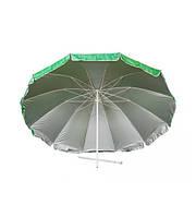 Садовой, торговый, пляжный Зонт диаметром 3 м, с 16 спицами. Пластиковые спицы. Серебренное покрытие. Зелёный
