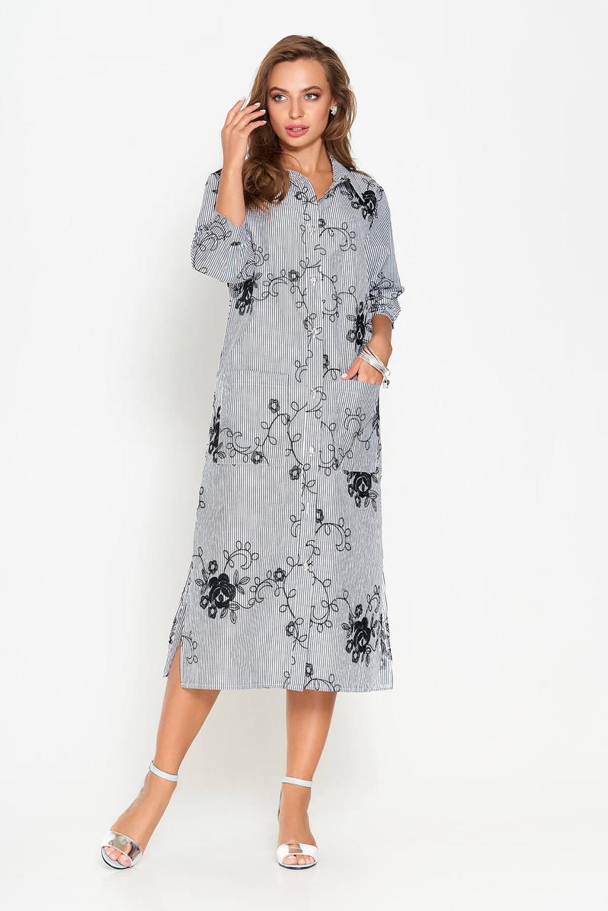 Летнее платье рубашка длинное с вышивкой серое