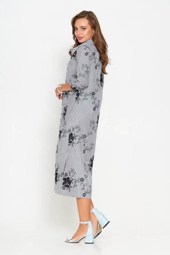 Летнее платье рубашка длинное с вышивкой серое, фото 2