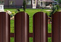 Штакетник металлический двухсторонний темно-коричневый матовый