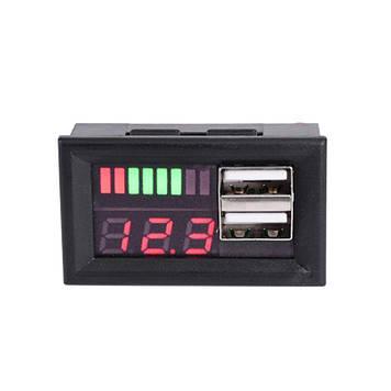 Вольтметр для авто (шкала цифра + вид батарї) + 2 USB для зарядки 2 Ампера