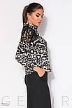 Леопардовая блуза с прозрачной кокеткой, фото 2