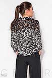 Леопардовая блуза с прозрачной кокеткой, фото 3