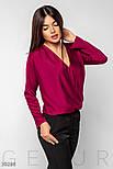 Свободная шелковая блуза на запах малиновая, фото 2