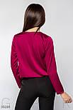 Свободная шелковая блуза на запах малиновая, фото 3