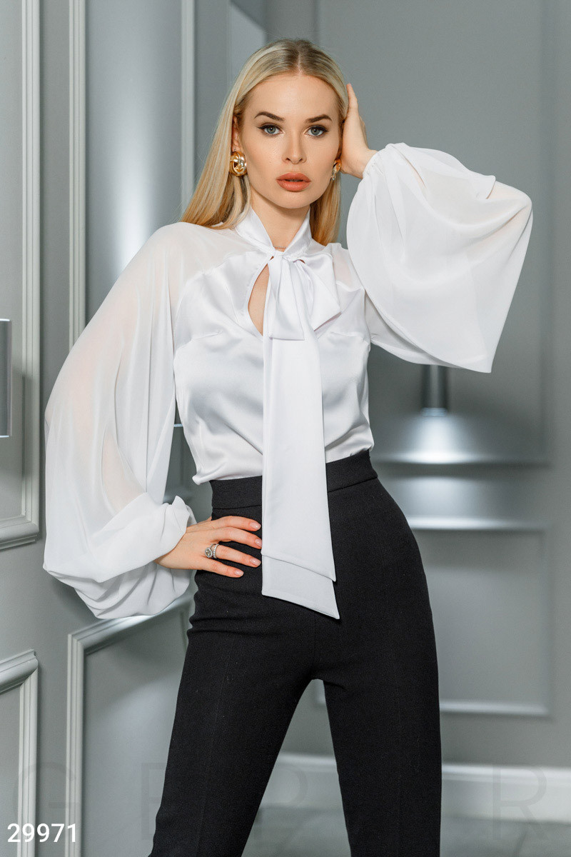 26f180334a8 Шифоновая блуза с широкими рукавами и завязками белая - LeButon в Одессе