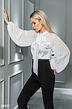 Шифоновая блуза с широкими рукавами и завязками белая, фото 2