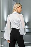 Шифоновая блуза с широкими рукавами и завязками белая, фото 3