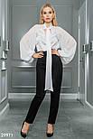 Шифоновая блуза с широкими рукавами и завязками белая, фото 4