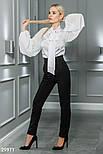 Шифоновая блуза с широкими рукавами и завязками белая, фото 5