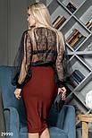 Прозрачная блузка с широким рукавом и кружевом, фото 6