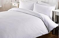 Комплект постельного белья Страйп Сатин Белая полоса 1 см Двуспальный Евро