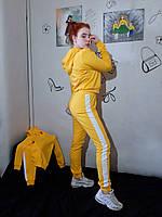 Костюм спортивный на молнии женский хлопок Костюм з двонитки однотонний з лампасами різні кольори бавовна