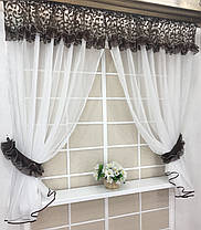 """Кухонные шторы """"Люсси"""" Шоколадный Завиток, фото 3"""