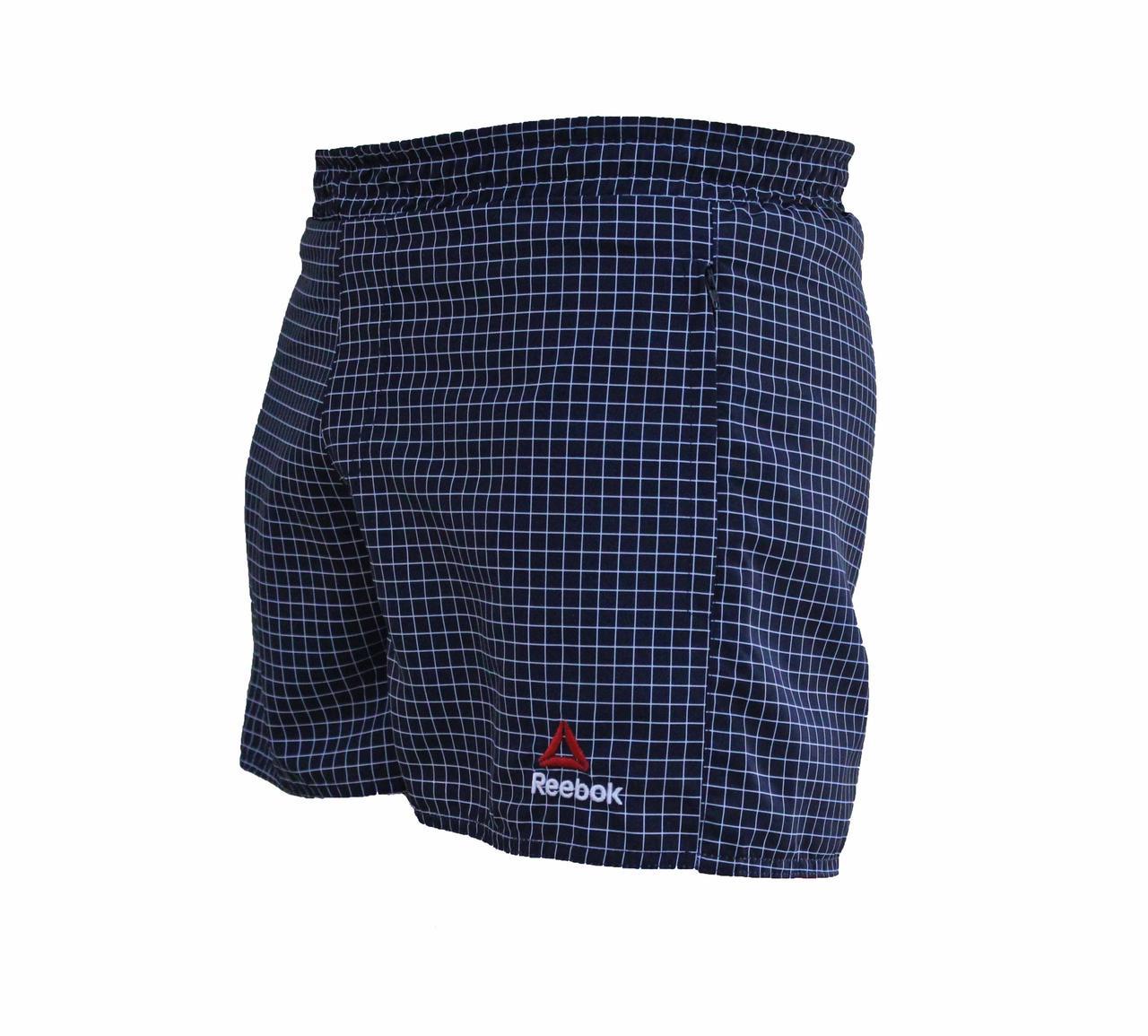 Мужские короткие спортивные шорты Reebok в клетку плащевка (Реплика)