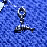 Серебряный шарм Скелет Рыбы 899-ч, фото 1