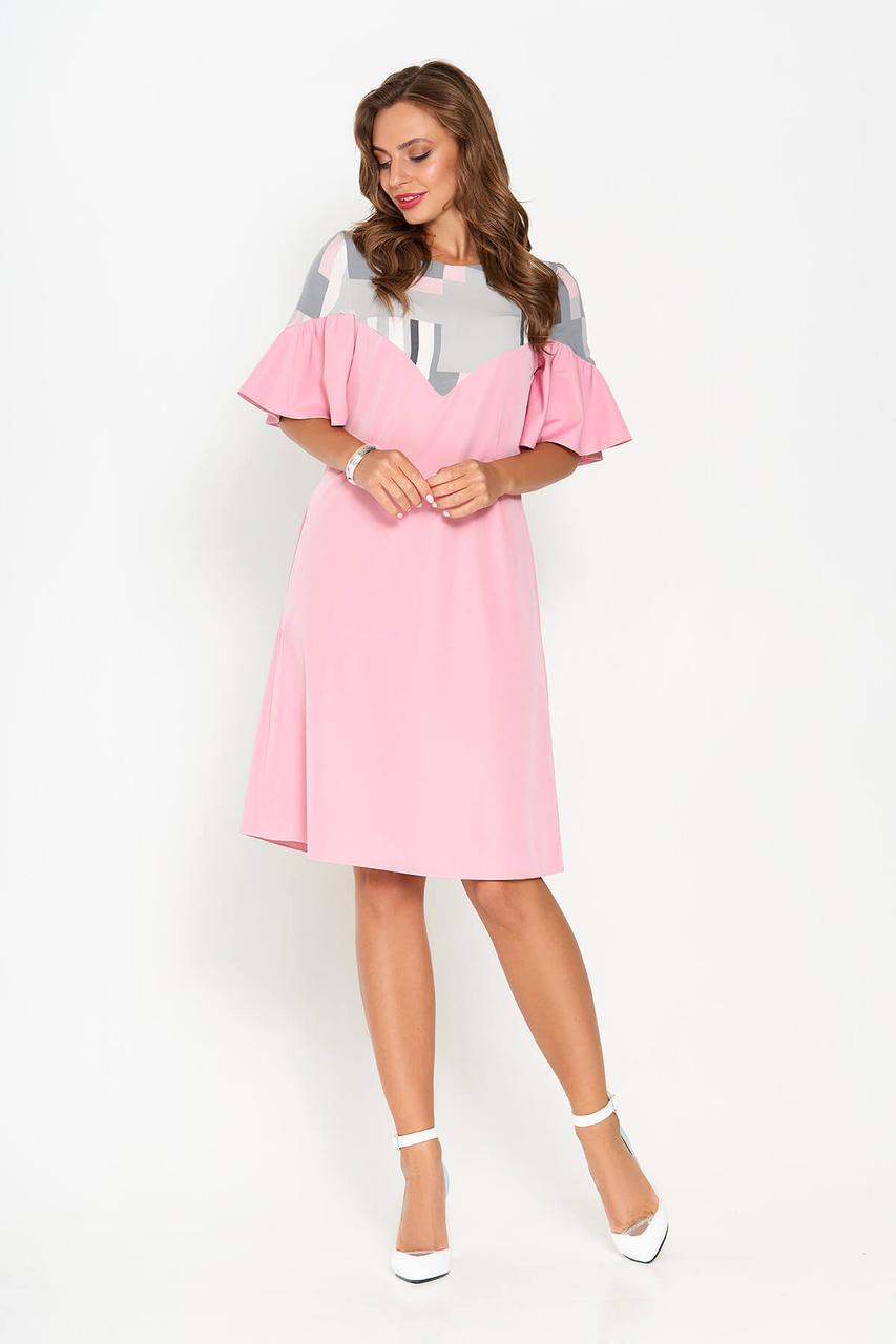 Красивое летнее платье трапеция розовое