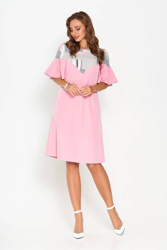 Красивое летнее платье трапеция розовое, фото 2