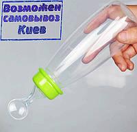 Бутылочка с силиконовой ложечкой, 240мл. - зеленая