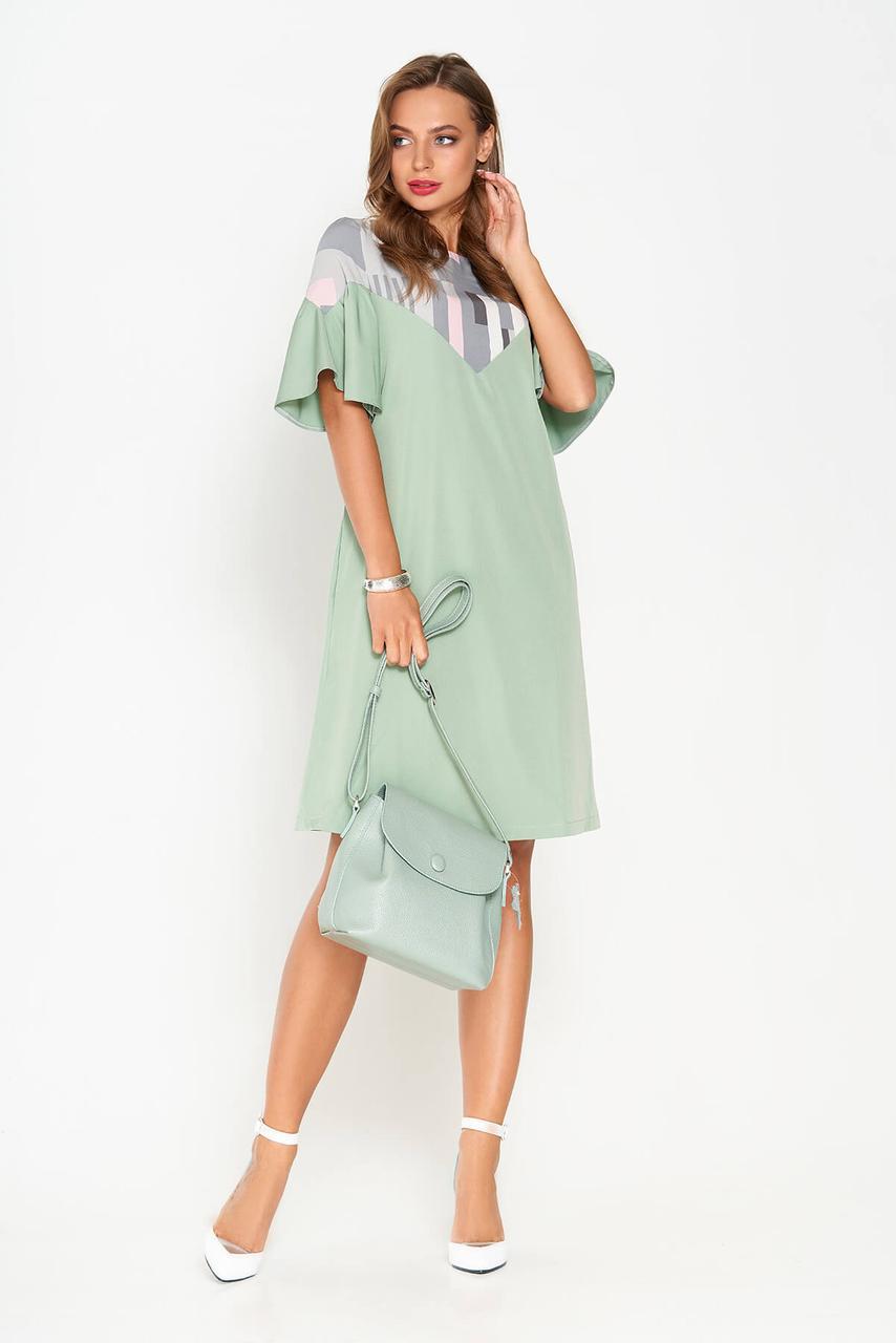 Красивое летнее платье трапеция мятное