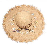 Соломенная пляжная широкополая шляпа