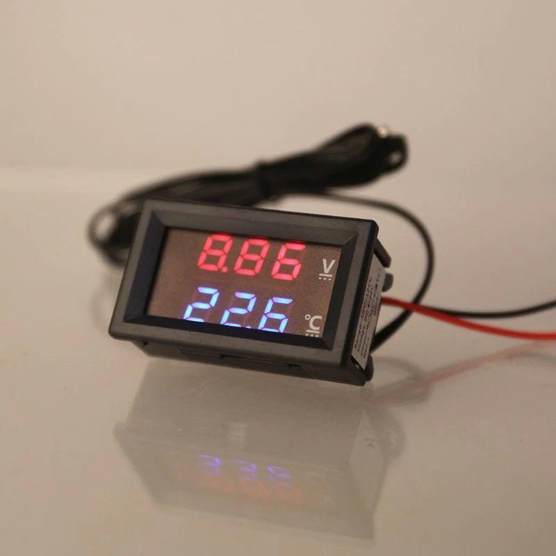 Цифровой вольтметр + термометр с виносним датчиком 1м для авто, живлення 12 - 24 вольт