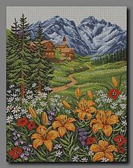 Схема для вишивання бісером Лілії в горах