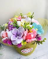 """Мыло ручной работы """"Букет цветов весенний"""" в супнике, фото 1"""