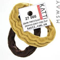 KATTi Резинка для волос 27 566 средняя гофр. упругая (2шт) Ш1Д5 дымно-песок, шоколад