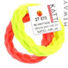 KATTi Резинка для волос 27 570 средняя гофр. упругая (2шт) Ш1Д5 ярко-желтая, красная