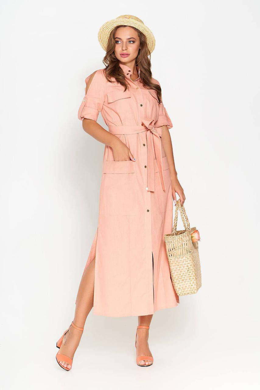 Летнее платье рубашка длинное льняное персиковое