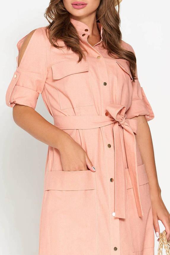 Летнее платье рубашка длинное льняное персиковое, фото 2