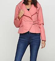 Куртка розовая на кнопках и завязке спереди прорезные карманы Snow Image