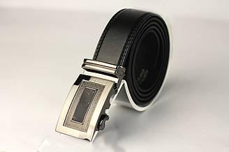 Пояс из кожзама, пряжка автомат серого цвета. Длина полотна 1200 мм. (11454)