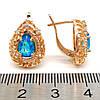 Серьги Xuping из медицинского золота с голубыми фианитами (куб. цирконием), в позолоте 18K, размер 17х11 мм,, фото 2