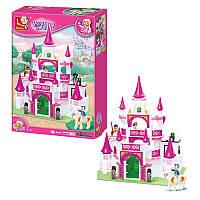 Конструктор типа лего для девочкиРозовая мечта - Сказочный замок принцессы, фигурки, лошадь, SLUBANM38-B0151