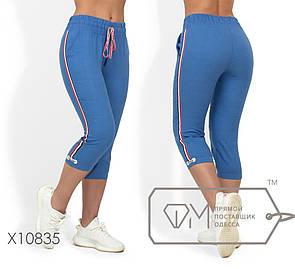 Льняные женские бриджи в больших размерах спортивного стиля 1blr1738