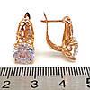 Серьги Xuping из медицинского золота с белыми фианитами, в позолоте 18K, размер 18х10 мм, ХР00144 (1), фото 2