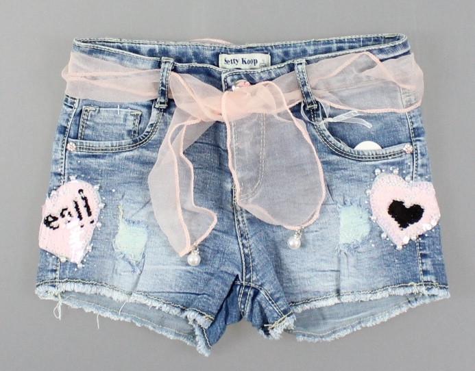 Джинсовые шорты для девочек Setty Koop оптом, 4-12 лет. {есть:10 лет,4 года,6 лет,8 лет}