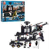 Конструктор типа лего полиция, полицейский транспорт, полицейский участок, звук, фигурки, SLUBAN M38-B1500