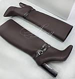 Женские коричневые кожаные сапоги трубы с отделкой из питона, фото 2