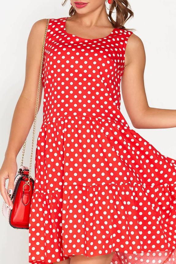 Красное летнее платье с оборкой, фото 2