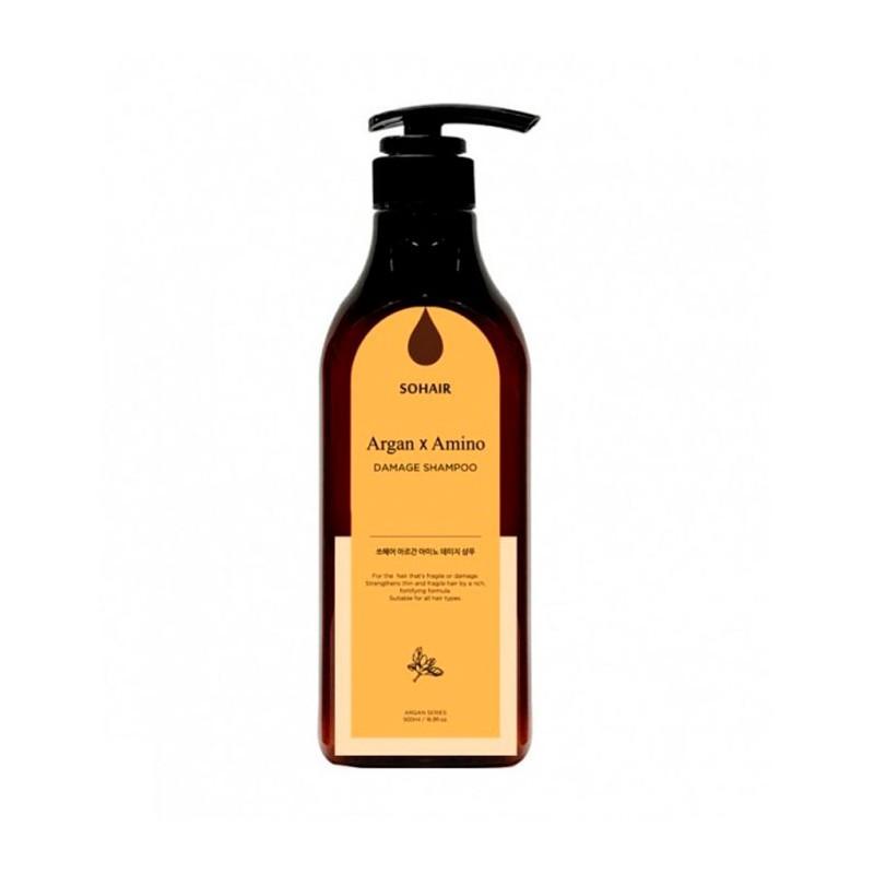 Безсульфатный шампунь для поврежденных волос SOHAIR ARGAN × AMINO DAMAGE SHAMPOO, 500 мл