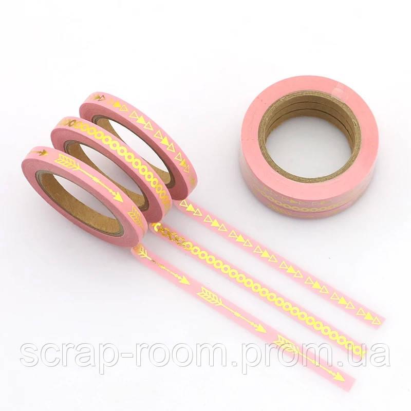 Скотч декоративный розовый с золотым фольгированием, скотч розовый, набор 3 шт, каждая бобинка по 10 метров