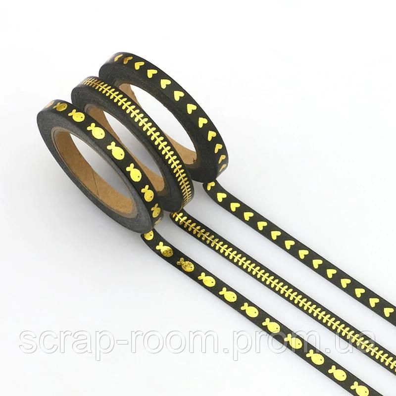 Скотч декоративный черный с золотым фольгированием, скотч черный набор 3 шт, каждая бобинка 5мм по 10 метров