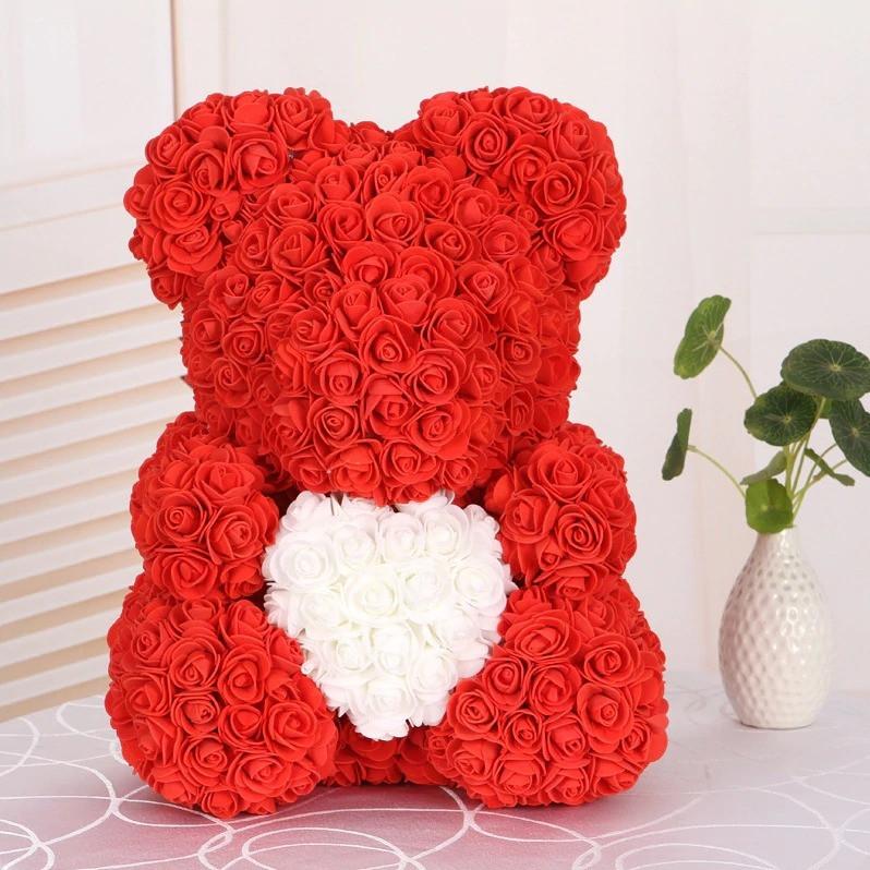 ХИТ!Мишка из 3D роз 40 см в красивой подарочной упаковке мишка Тедди Красный