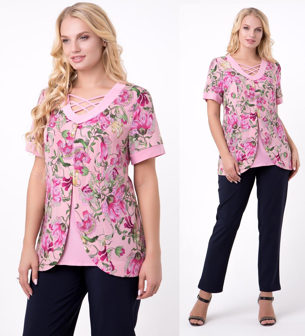 83ff5285f3721ff Блузка женская трикотажная летняя больших размеров (батальная), розовая,  цена 560 грн., купить в Вышгороде — Prom.ua (ID#961468192)