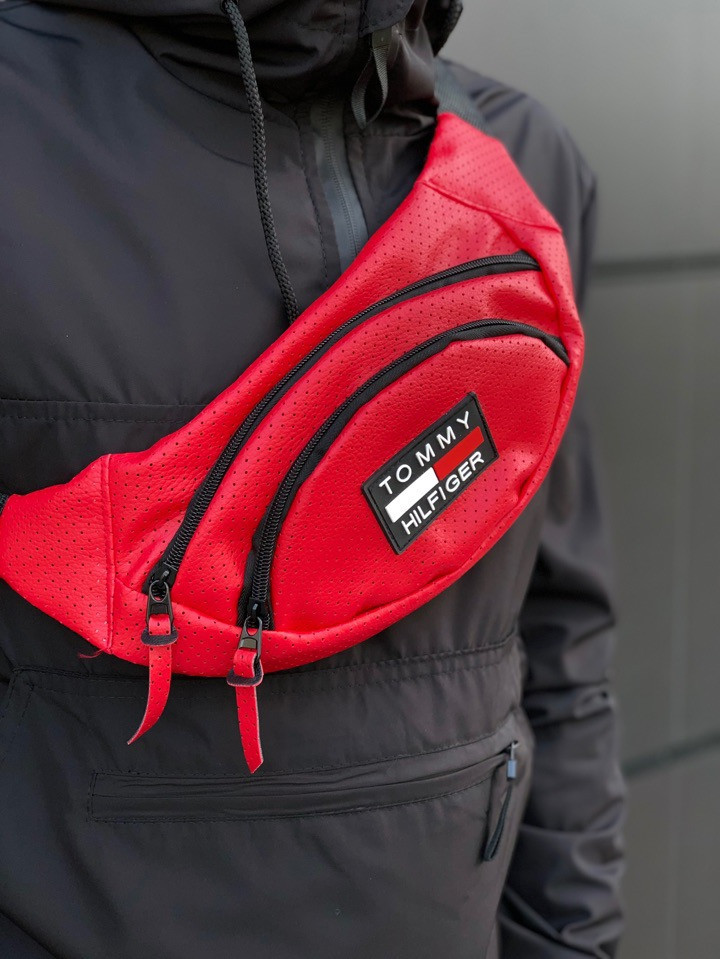 Сумка на пояс Tommy Hilfiger из качественного кож. зама, цвет красный, фото 1