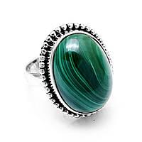 Кольцо из серебра с малахитом, 20*15 мм., 1052КМ
